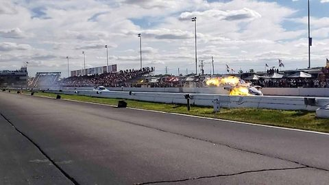Drag racer bursts into flames as car crosses the finish line