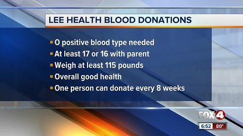 Lee Health in need of O Positive blood donations