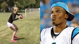 """""""Since You Think It's Funny!"""" Abby Hornacek Shows Cam Newton a Post Route - Video"""