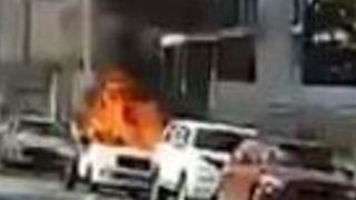 Car Set Alight on Street in West End, Brisbane - Video
