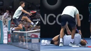 Grigor Dimitrov JUMPS the Net to Help After Opponent Goes Down with Injury - Video