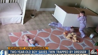 2-year-old boy saves twin brother from fallen dresser