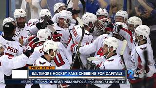 Baltimore hockey fans cheering for Capitals in Stanley Cup Final - Video