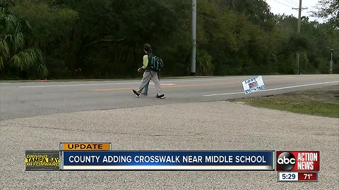 County making major safety updates near Riverview middle school, includes adding crosswalks