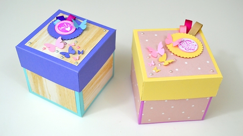 DIY paper craft ideas: Mother's Day unfolding box card