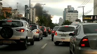 Supporters of Jailed Former President Lula Set Up Burning Roadblock - Video