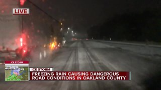 Freezing rain causing dangerous roads in metro Detroit - Video