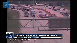 3 car crash causes major delays on I-94 West - Video