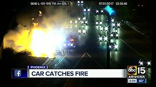 Car catches fire on Loop 101 near 7th Avenue - Video