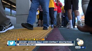 Grocery workers rally over contract negotiations