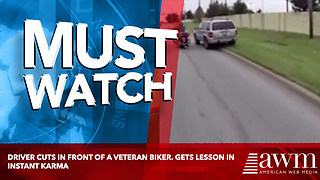 Driver Cuts In Front Of A Veteran Biker. Gets Lesson In Instant Karma - Video