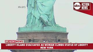 Woman climbing up the Statue of Liberty on 4th of July causes evacuations