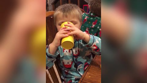 Young Boy Eats & Drinks While Sleeping