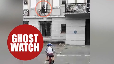Video shows terrifying moment ghostly woman watches over boy cycling a car park