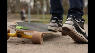 Longboarder has the coolest dance moves