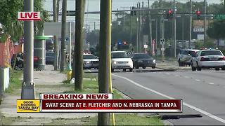 SWAT scene at E. Fletcher and N. Nebraska in Tampa - Video