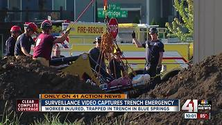 Crews rescue man from trench in Blue Springs - Video
