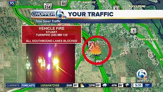 Vehicle fire closes Turnpike southbound lanes in Martin County - Video