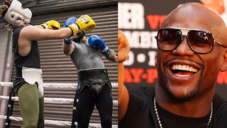 Floyd Mayweather Reacts to Conor McGregor Getting Knocked in Sparring Session - Video