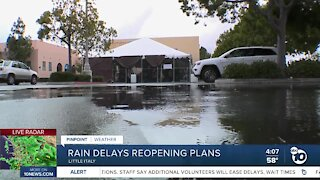Rain delays San Diego businesses reopening outdoors
