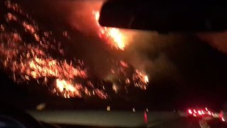 Skirball Fire Breaks Out Near Interstate 405 in Los Angeles - Video
