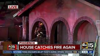 Home catches fire again in Phoenix - Video
