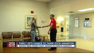 Family meets hero who pulled man from burning car - Video
