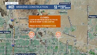 The Pima Freeway widening project closes a stretch of Loop 101 in north Phoenix this weekend