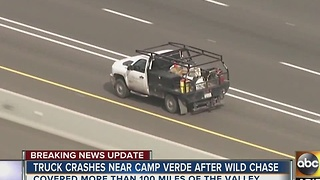 Pursuit suspect crashes up north after chase that started in Gilbert - Video