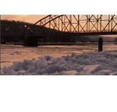 Ice Jams on Connecticut River Painted in Orange Glow at Sunrise - Video