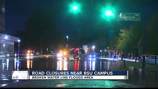 Water main under BSU campus breaks - Video