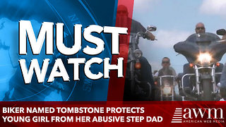 Biker Named Tombstone Protects 13 Years Old Girl From Her Abusive Step Father - Video