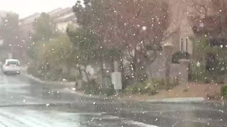 Snow seen across Las Vegas valley - Video