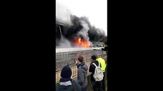 Fire breaks out on Stansted Airport shuttle bus - Video
