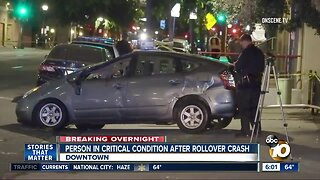 Person in critical condition after downtown San Diego crash
