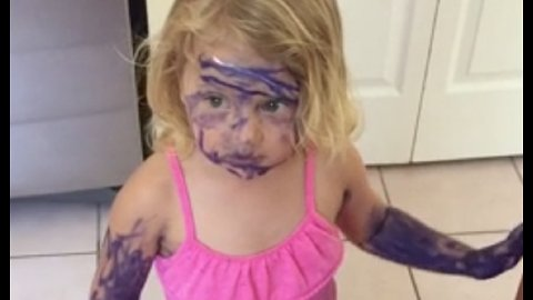 Toddler Makes Purple Marker The Next Makeup Trend