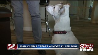Man claims treats almost killed dog
