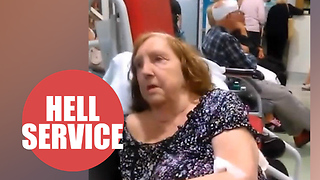 76-year-old gran forced to sleep on chairs pushed together in crammed A&E - Video