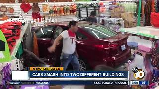 Cars smash into two different buildings in San Diego - Video