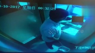 Man relieves himself in dustbin when withdrawing cash at ATM - Video