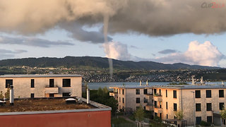 Beautiful Waterspout Filmed On Swiss Lake
