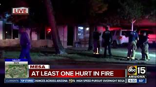 One hospitalized after house fire in Mesa - Video