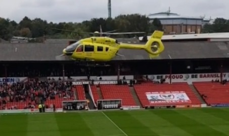 Helicopter Lands in Barnsley Stadium After Medical Emergency Disrupts Game