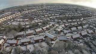 Drone Shows Worcestershire Town Covered in Snow - Video
