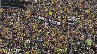 Hundreds of Thousands of Demonstrators in Barcelona Call for Release of Jailed Catalan Leaders - Video