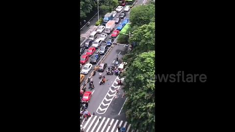 Out-of-control van ploughs into pedestrians in China