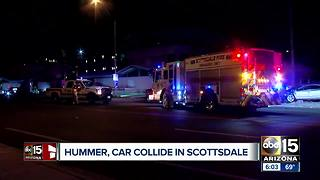 Hummer and car collide in Scottsdale - Video