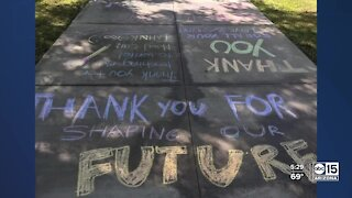 Students decorate sidewalks to thank teachers at Desert Ridge Junior High
