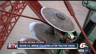 Historic Boone County bridge collapses after tractor crash - Video