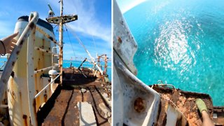 Bird's Eye View – Daredevils Leaps 70ft From Abandoned Ships Crows Nest